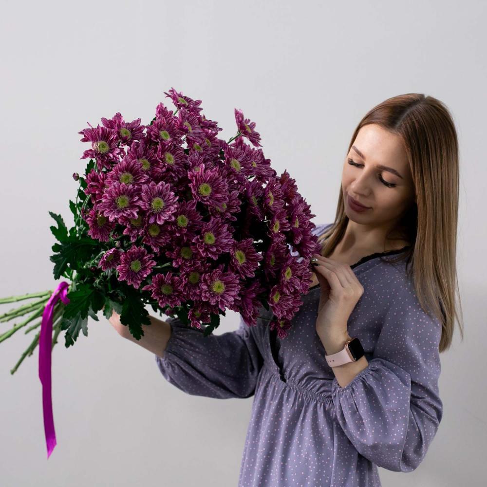 Букет из 15 фиолетовых хризантем