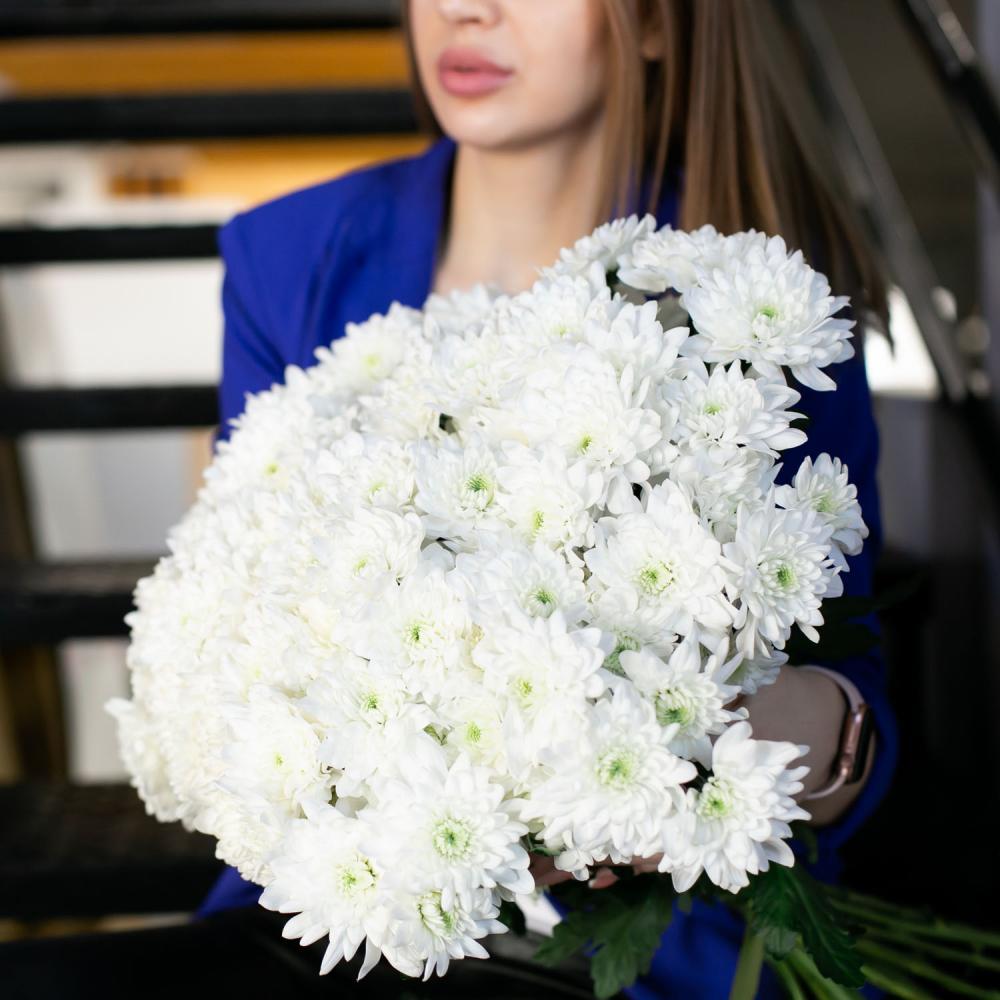 """Букет из 15 белых хризантем """"Балтика"""""""
